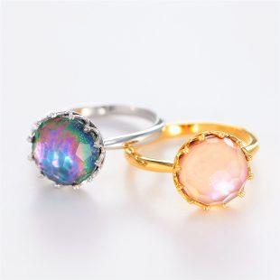宝石クォーツ・水晶を使った和の彩指輪の商品写真です。型番:CR101001-01~02 画像その5