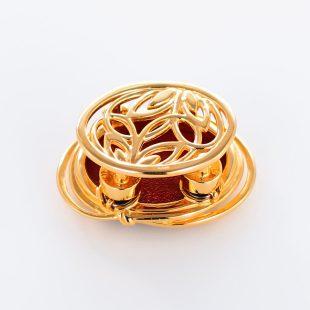 宝石クォーツ・水晶を使った花と和風のデザインが特徴的な和の彩帯留めの商品写真です。型番:CR601001-01~02 画像その2