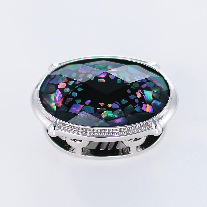 宝石クォーツ・水晶を使った和風のデザインが特徴的な和の彩帯留めの商品写真です。型番:CR601003-01 画像その1