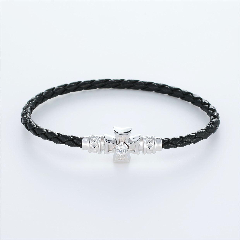 宝石キュービックを使ったクロスのデザインが特徴的な環の色ブレスレットの商品写真です。型番:LE401005-01~03 画像その1