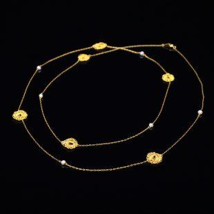 花のデザインが特徴的な和の彩 金銀糸ネックレス/ペンダントの商品写真です。型番:659-071 画像その2