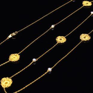 花のデザインが特徴的な和の彩 金銀糸ネックレス/ペンダントの商品写真です。型番:659-071 画像その3