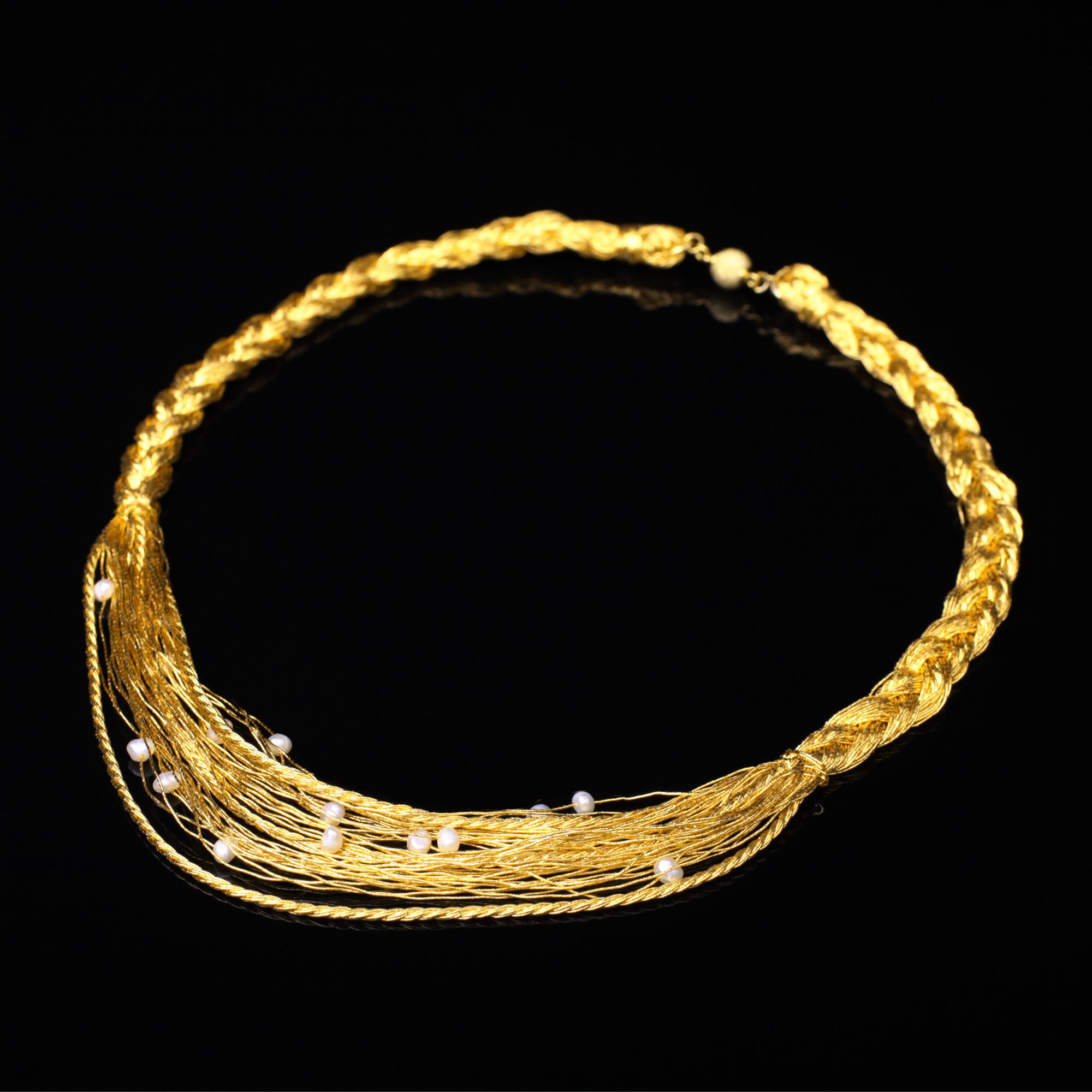 宝石パール(真珠)を使った和の彩 金銀糸ネックレス/ペンダントの商品写真です。型番:658-908 画像その1