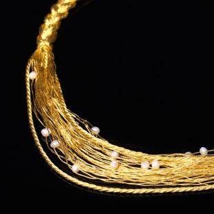 宝石パール(真珠)を使った和の彩 金銀糸ネックレス/ペンダントの商品写真です。型番:658-908 画像その2