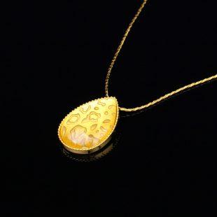 宝石クォーツ・水晶を使った和の彩 金銀糸ネックレス/ペンダントの商品写真です。型番:659-151 画像その2