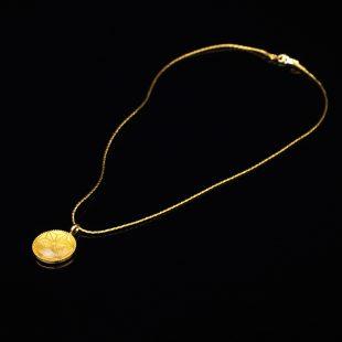 宝石クォーツ・水晶を使った和の彩 金銀糸ネックレス/ペンダントの商品写真です。型番:659-155 画像その1
