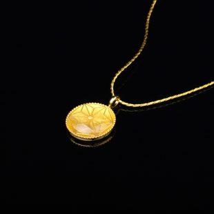 宝石クォーツ・水晶を使った和の彩 金銀糸ネックレス/ペンダントの商品写真です。型番:659-155 画像その2